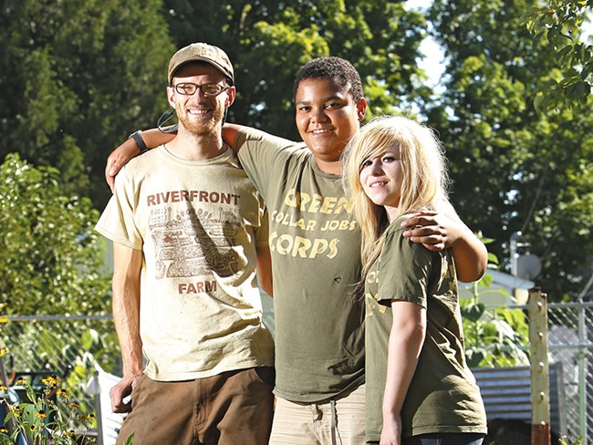 Project Hope Riverfront Farm\'s Patrick Mannhard (left) and job trainees Bakari Green and Sylina Alton. - YOUNG KWAK