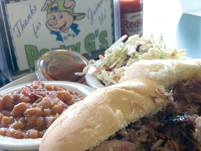 Pulled-pork sandwich from Porky G's. - CARRIE SCOZZARO