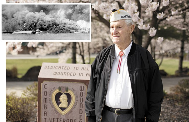 Ray Garland at the Purple Heart Memorial outside the Spokane Veterans Memorial Arena. INSET: The half-sunk, burning - USS Oklahoma on Dec. 7, 1941, just as Garland would have seen it. - YOUNG KWAK