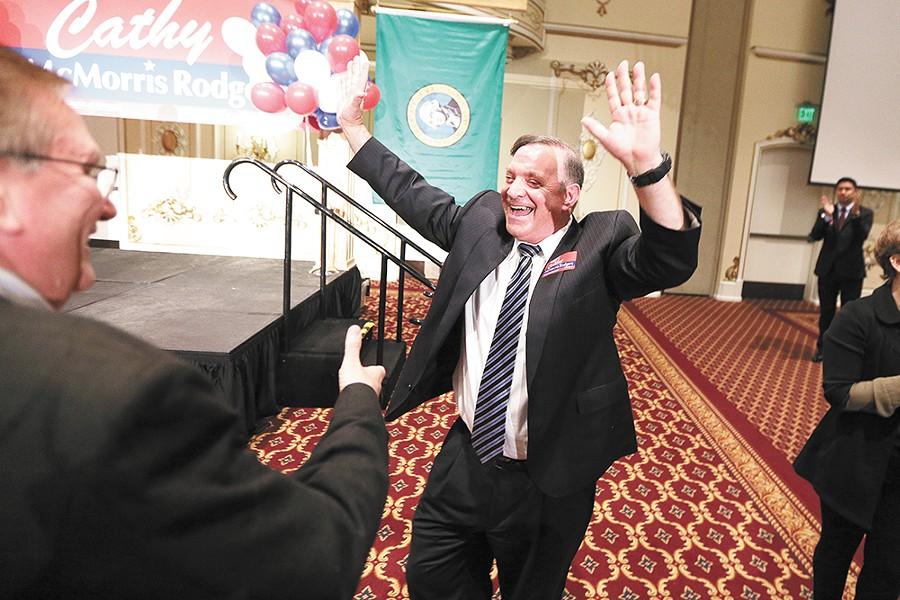 Republican Larry Haskell celebrates being elected Spokane County Prosecutor, beating civil rights attorney Breean Beggs, an architect of Smart Justice reforms. - YOUNG KWAK