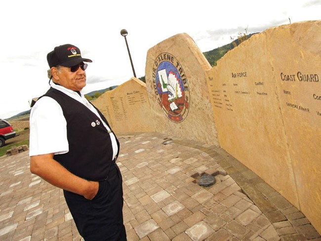 Retired U.S. Air Force Sgt. John Abraham visits the Coeur d'Alene Tribe Veterans Memorial in Plummer, Idaho. - YOUNG KWAK