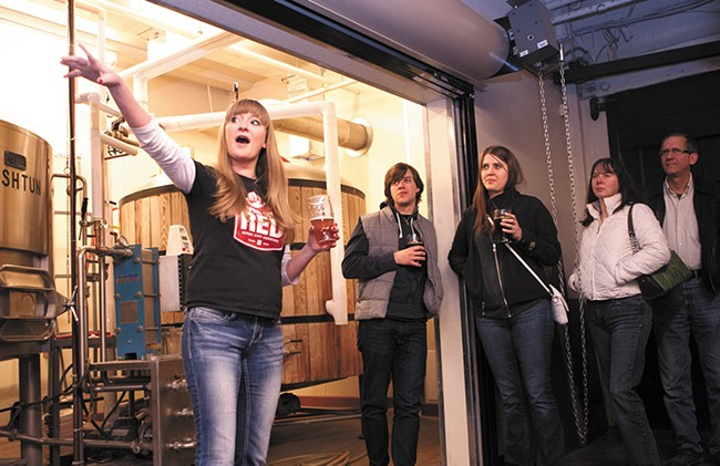 River City Brewing manager Emily Schwartz gives a tour of the brewery. - MEGHAN KIRK