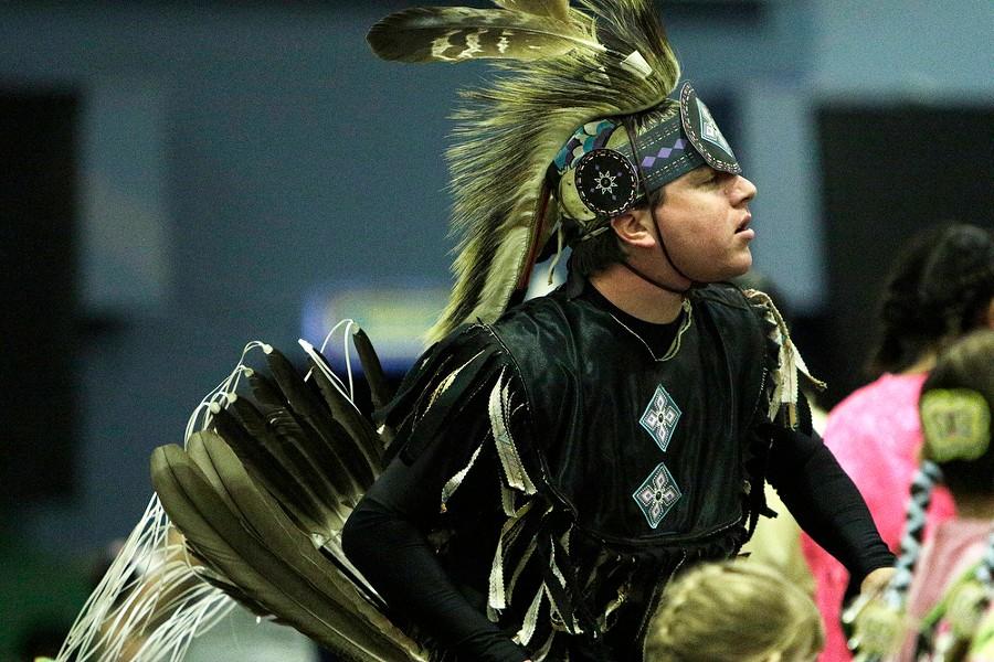 Robert Wynecoop, of the Spokane Tribe, dances. - YOUNG KWAK