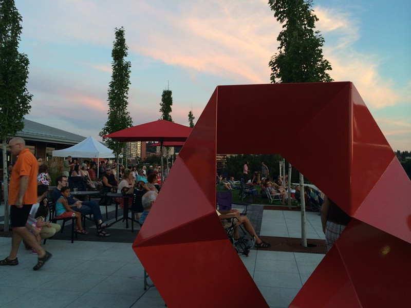 Concertgoers gather for the opening night of the Rock the Nest concert series. - LAURA JOHNSON