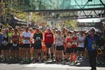 Runners wait for the start.