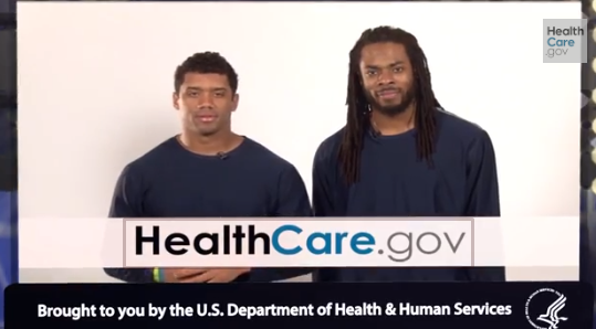 Russell Wilson and Richard Sherman (right) appealing to millennials in a HealthCare.gov promo - YOUTUBE