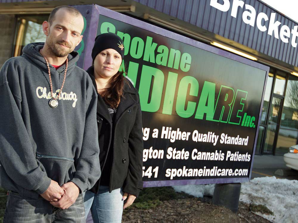 Ryan Seeley and Surlsa Arispe outside their marijuana dispensary, Indicare. - YOUNG KWAK