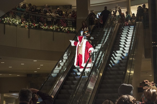 Santa arrives at the River Park Square atrium. - SARAH WURTZ