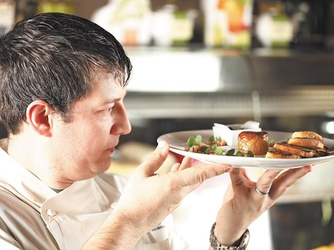 Sante Chef Jeremy Hansen with his foie gras brule. - YOUNG KWAK