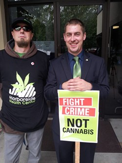 Sean Green, right, was awarded the state's first recreational marijuana license. - PHOTO FROM KOUCHLOCK PRODUCTIONS ON FACEBOOK