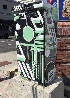 """Impossible Structures"" by Ryann Engel is on a signal box at Second and Stevens."
