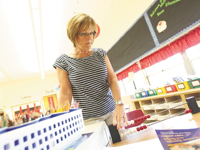 Second-grade math teacher Susan Surby says the district's non-traditional method of teaching math works. - YOUNG KWAK