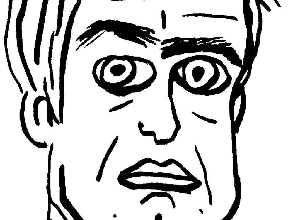 Self-portrait of  the cartoonist.