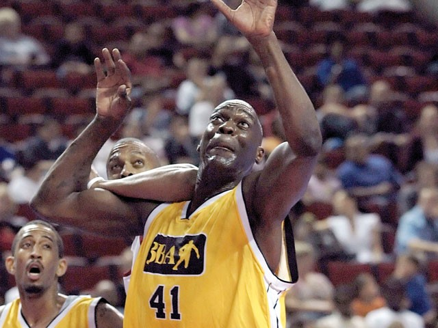 Shawn Kemp suited up for a 3BA exhibition game in Seattle. - 3BA