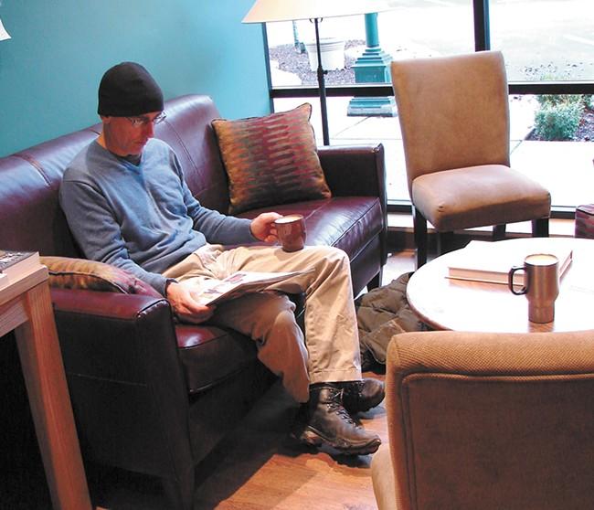 Sigurd Panke enjoys an eggnog latte at Well-Read Moose. - YOUNG KWAK
