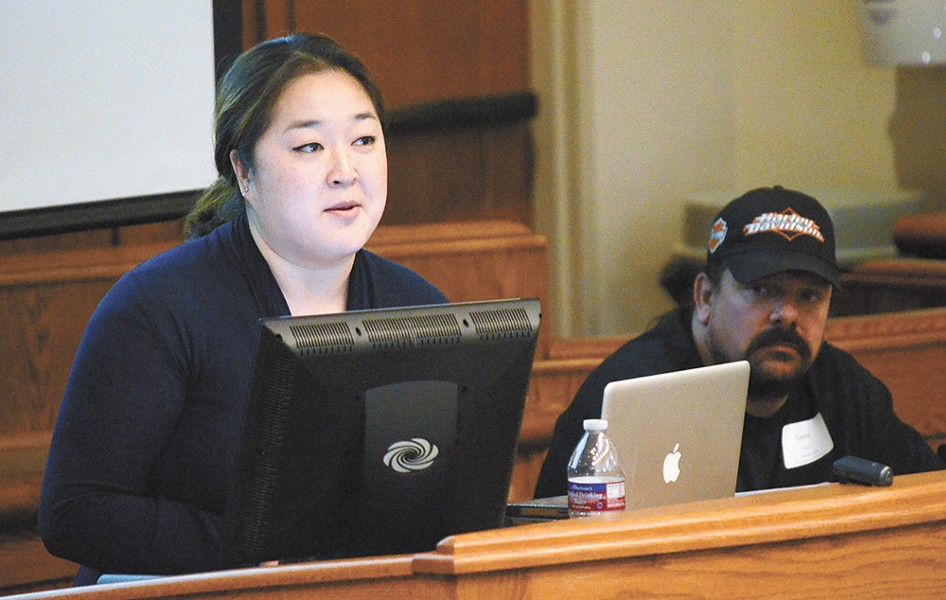 "Speaker Jennifer Kim notes the powerful impact of personal stories: ""Statistics don't go viral."" - JACOB JONES"