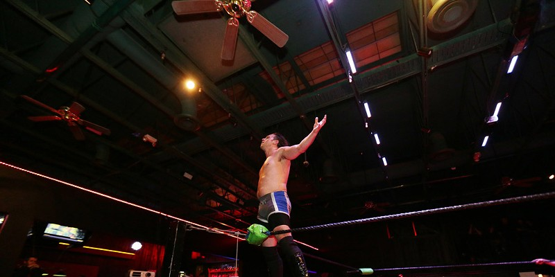 """Spokane Anarchy Wrestling at Swaxx Spokane Anarchy Wrestling's Rook """"Gladius"""" Kelly celebrates victory in the Battle Royale."""