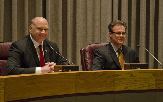 Spokane County Sheriff Ozzie Knezovich, left, and Spokane Police Det. Douglas Orr in first debate for sheriff's race. - JACOB JONES