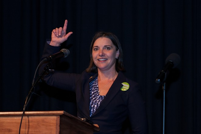 Spokane County Treasurer candidate Amy Biviano (D) speaks to supporters. - ASHLEY TOMLINSON