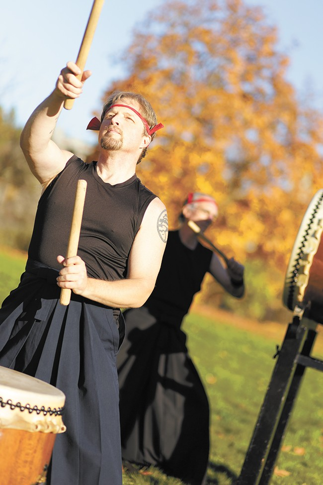 Spokane Taiko drum group's Johnny Sarenson, left, and Finn Pond are set to perform at the Folk Festival this weekend. - YOUNG KWAK