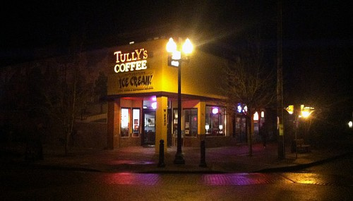The Tully's sign still glows in Browne's Addition on Thursday night, but not for much longer. - LISA WAANANEN