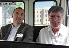 State lawmakers Marcus Riccelli and Timm Ormsby tour the grounds at Eastern State Hospital. - DEANNA PAN