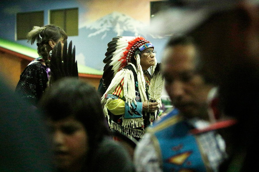 Steven Reuben, of the Nez Perce Tribe, dances. - YOUNG KWAK