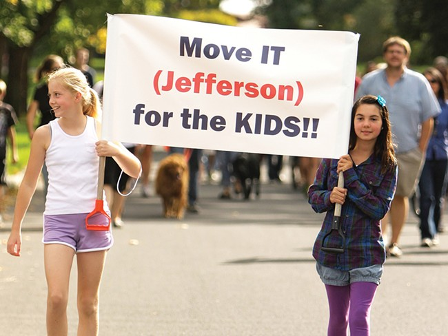 Students marched in support of moving Jefferson Elementary. - YOUNG KWAK