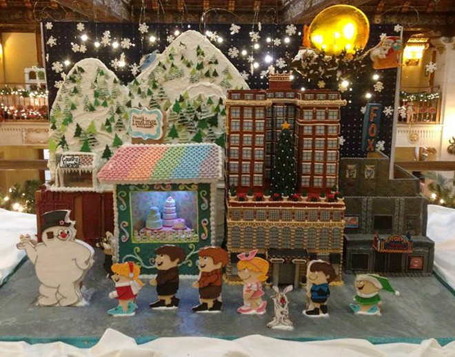 Sweet Frostings' gingerbread creation includes a miniature version of the Davenport and their own shop. - DAVENPORT HOTEL FACEBOOK PAGE