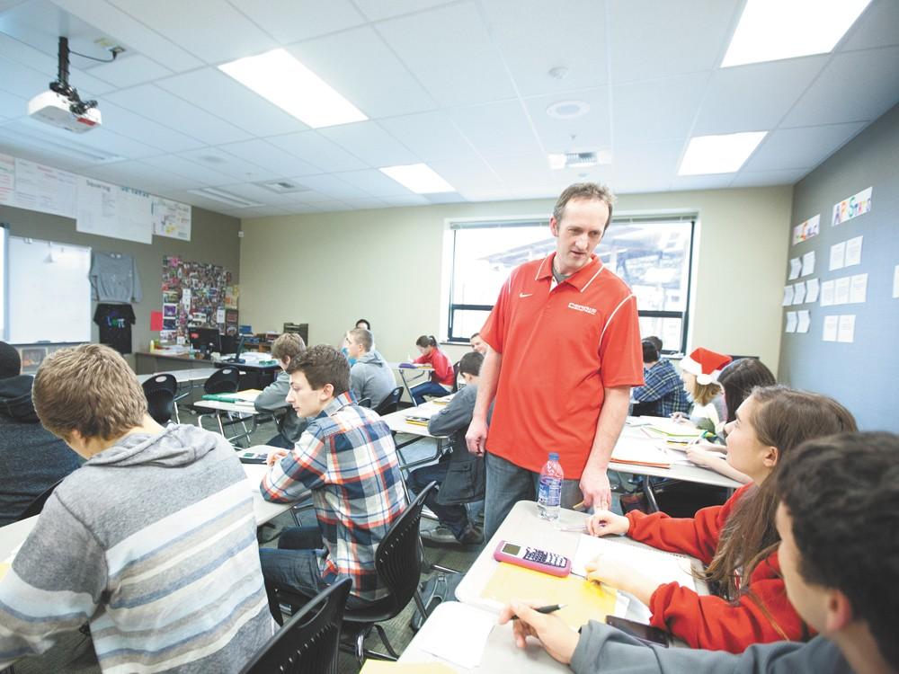 Teacher Tom Rye, center, during an honors pre-calculus class. - YOUNG KWAK