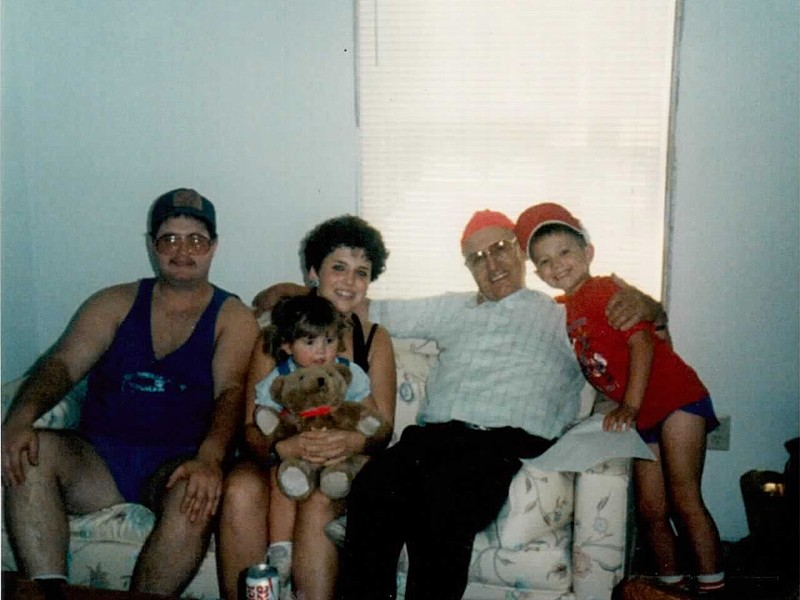 The author\'s parents, Brad and Jenny Byrd, with her great-grandfather and grandmother.