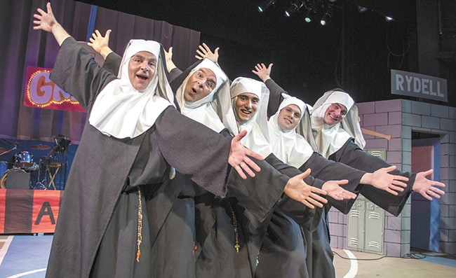 The cast of Nunsense A-Men from left to right: Mark Pleasant, Rick Rivera, Jerrod Galles, Martin Sanks and Patrick McHenry-Kroetch. - SARAH WURTZ
