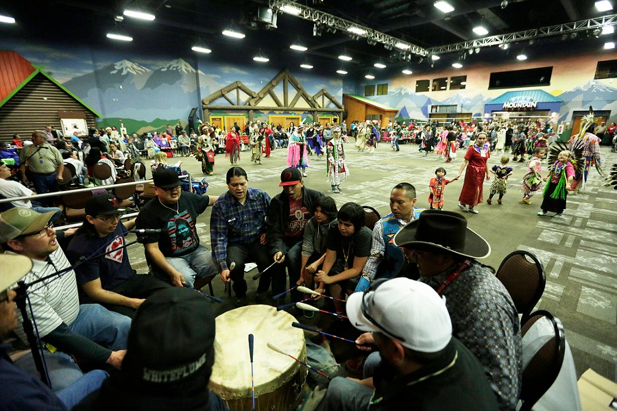 The Dancing Eagle drum group performs. - YOUNG KWAK