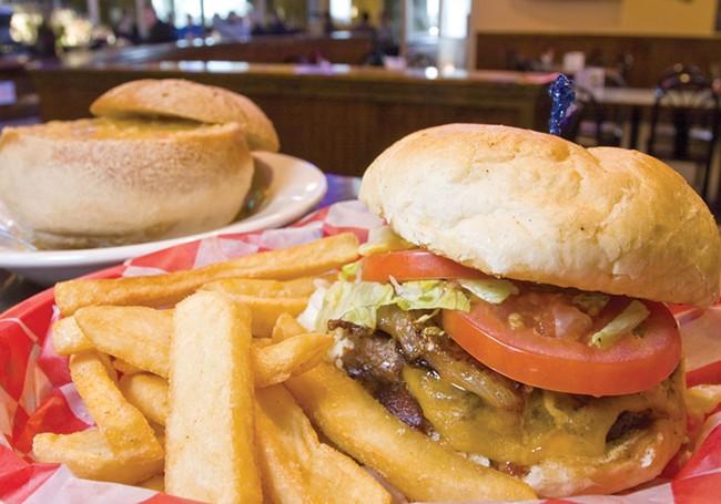The Duke burger and salmon chowder at True Legends - JEFF FERGUSON