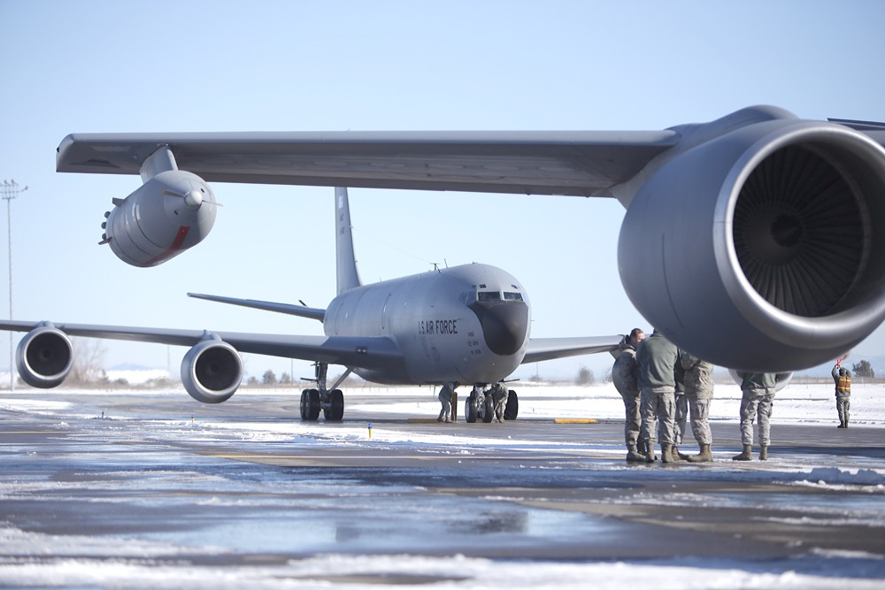 The final KC-135 flight from the Transit Center at Manas stops after landing at Fairchild Air Force Base - YOUNG KWAK