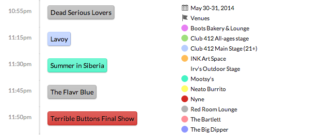 This is what the full schedule looks like on the Volume site: volume.inlander.com/schedule