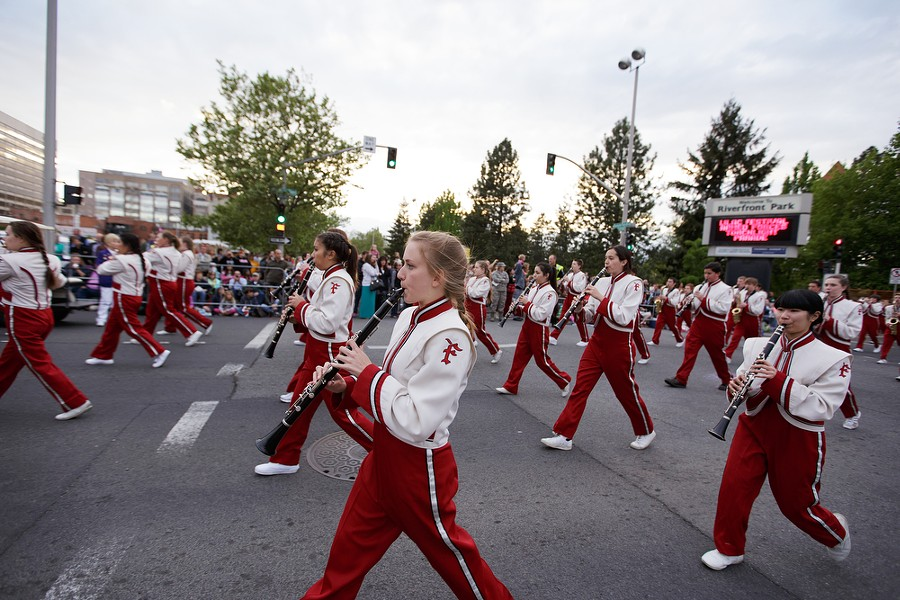 The Joel E. Ferris marching band marches. - YOUNG KWAK
