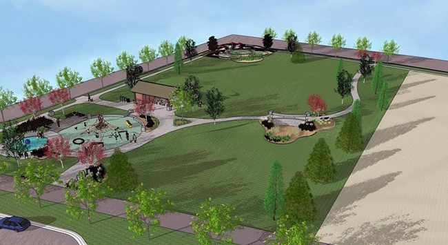 """The latest plans for Olmsted Green in Kendall Yards include a water feature for kids and """"rain gardens"""" for stormwater. - GREENSTONE"""