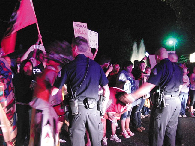 The scene of last week\'s megaload protests on Highway 12. - DEANNA PAN
