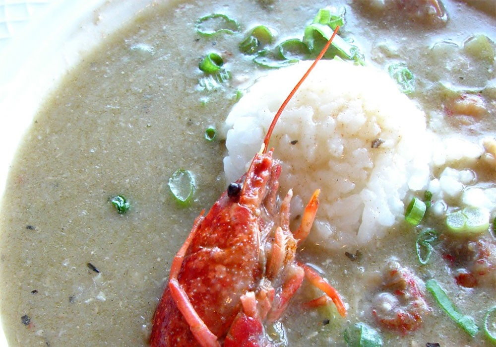 The seafood gumbo at the Fork in Coeur d'Alene is garnished with a little crawfish. - CARRIE SCOZZARO