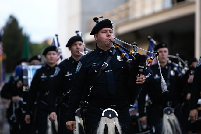 The Seattle Police Pipes & Drums performs. - YOUNG KWAK