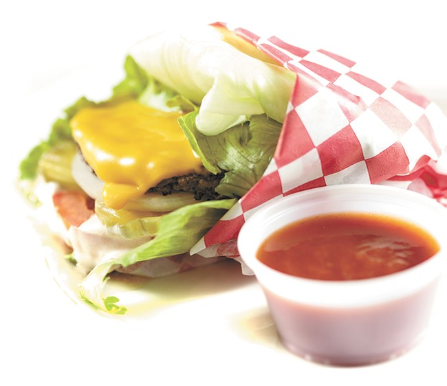 The Surf Shack's lettuce-wrapped burger features ketchup made without high-fructose corn syrup. - YOUNG KWAK