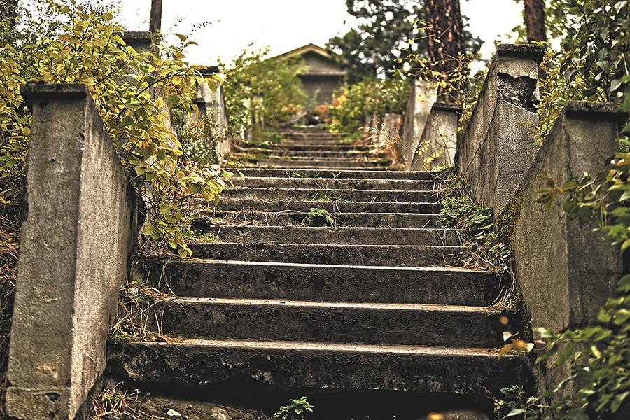 The Thousand Steps memorial at the Greenwood Cemetery is one of Spokane's allegedly haunted spots. - YOUNG KWAK