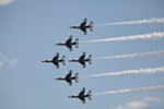 The U.S. Air Force Thunderbirds Air Demonstration Squadron perform in their F-16s.