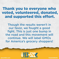 "The ""Yes on 522"" campaign to label GMOs has officially conceded"