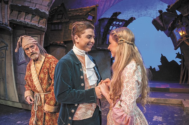 Thomas Heppler (left) Adam Maddox (center) and Christa LaVoie in the Civic's A Christmas Carol. - SARAH WURTZ