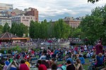 Thousands of people gathered in Riverfront Park to listen to music, enjoy the weather and watch the fireworks display.