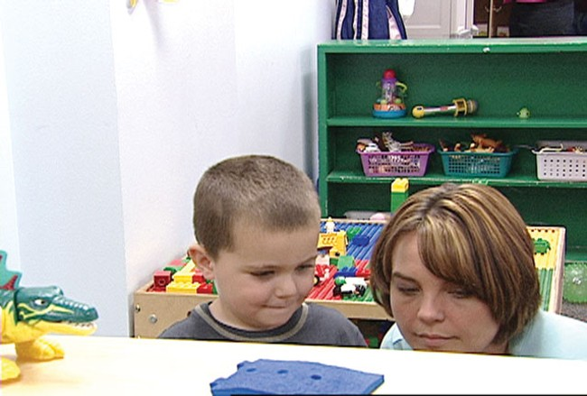 Three-year-old Pauly attends the Domino Project Preschool