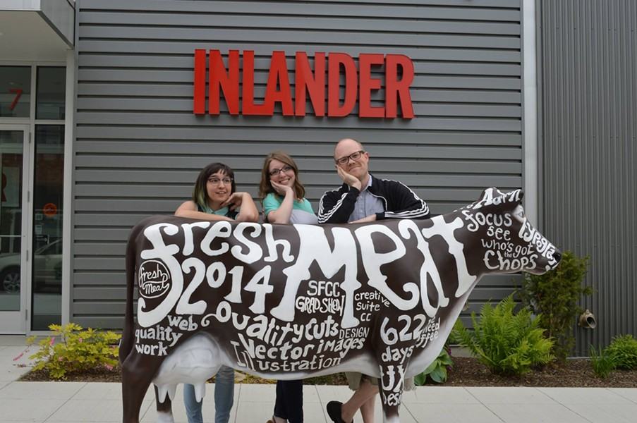 Bovine, the SFCC graphic design portfolio show mascot, stops by to pose with Inlander staffers. - LIORAH WICHSER