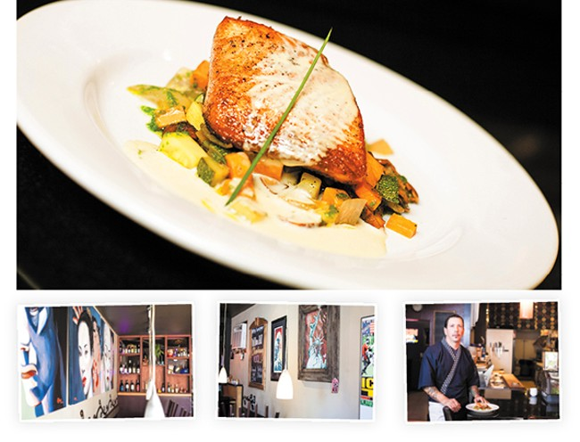 TOP: Salmon with fall vegetables. BOTTOM: Scenes from Syringa, and Chef Viljo Basso. - MIKE MCCALL